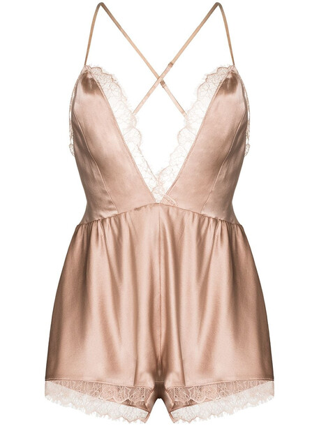 Sleeping with Jacques Alexa lace-trimmed playsuit - Neutrals