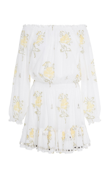 Juliet Dunn Off-The-Shoulder Floral-Print Mini Dress