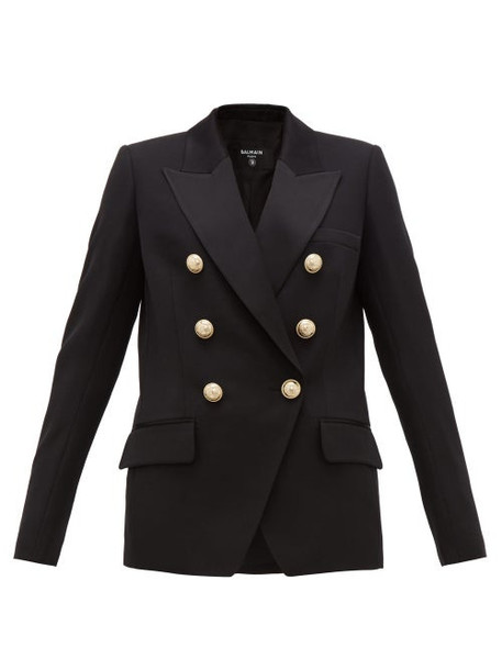 Balmain - Double-breasted Wool Blazer - Womens - Black