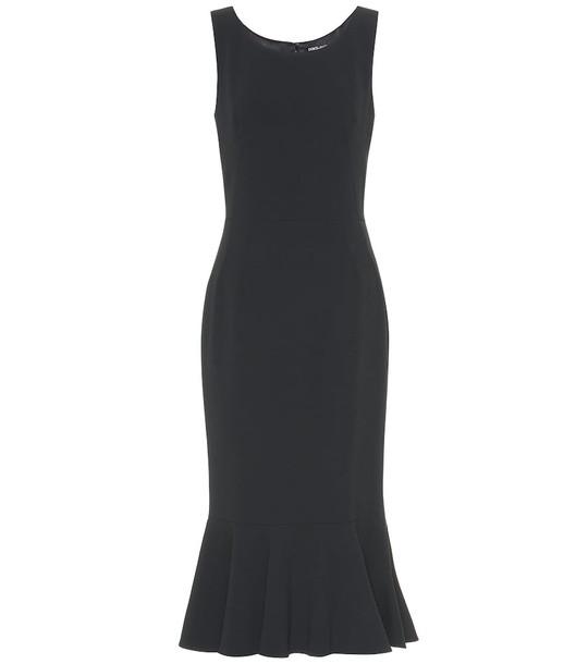 Dolce & Gabbana Ruffle-hem crêpe dress in black