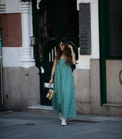 dress,midi dress,texture,green dress,zara,sneakers,bag