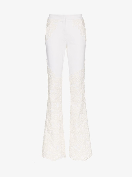 Ronald Van Der Kemp lace applique flared jeans in white