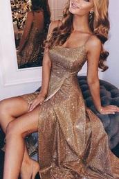 dress,gold prom dress