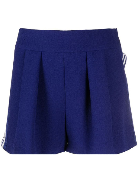 Missoni side-stripe pleated shorts in blue