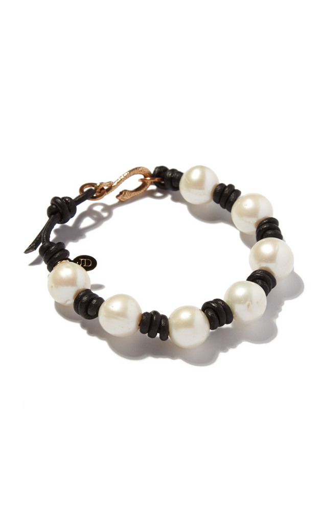 Joie DiGiovanni Pearl And Knotted Leather Bracelet in white
