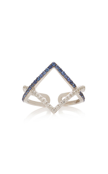 TULLIA 14K White Gold Sapphire And Diamond Ring in blue