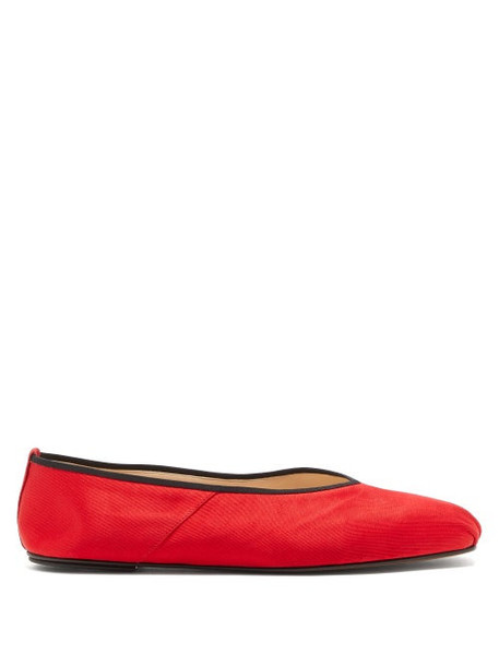 The Row - Ballet Square-toe Satin Flats - Womens - Red