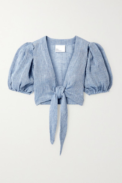 Lisa Marie Fernandez - Net Sustain Pouf Tie-front Linen-blend Gauze Top - Azure