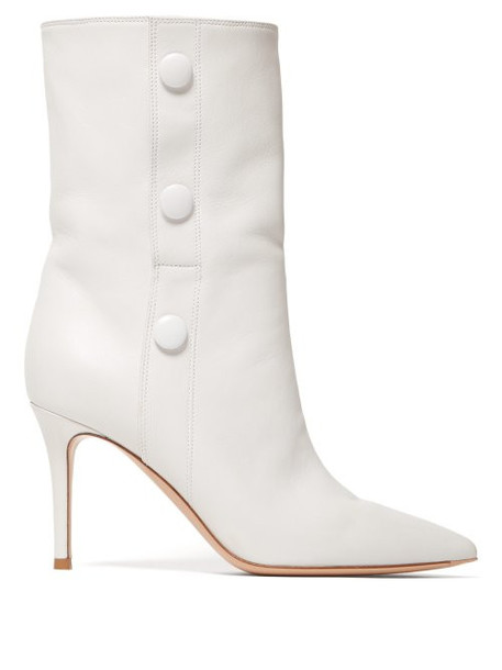 Gianvito Rossi - 85 Button Detail Leather Ankle Boots - Womens - White