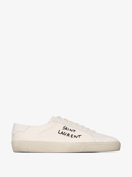 Saint Laurent White Court Classic logo embroidery sneakers