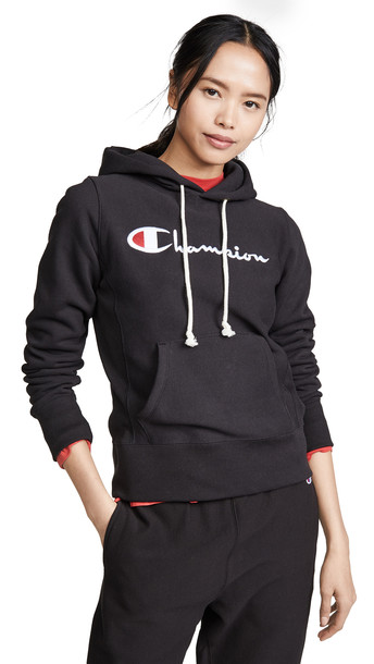 Champion Premium Reverse Weave Hooded Sweatshirt in black