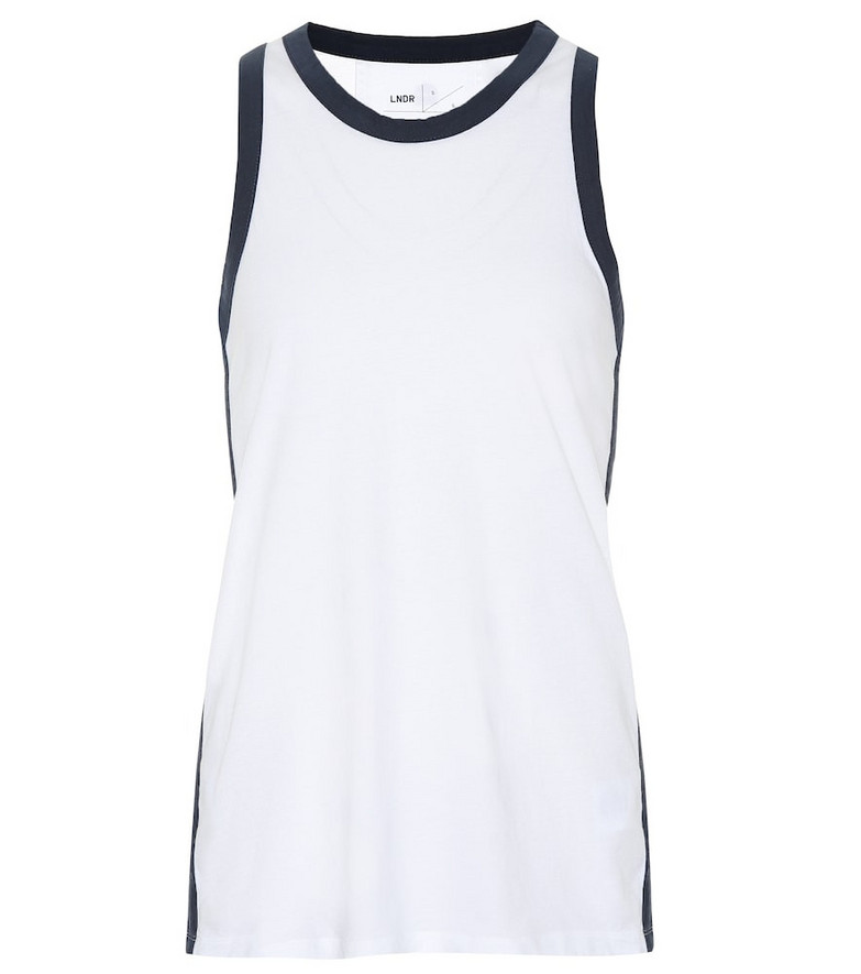 Lndr Stripe cotton vest top in white