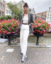 top,crop tops,white pants,high waisted pants,sneakers,blazer,bag