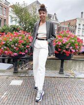 top,crop tops,white pants,high waisted pants,sneakers,blazer,bag