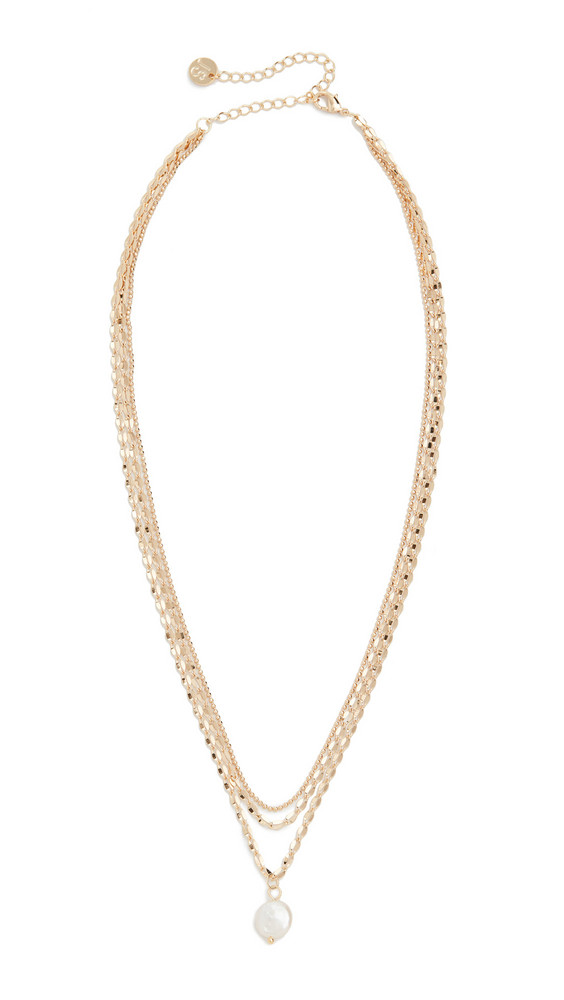 Jules Smith Layered Freshwater Pearl Mop Necklace in gold