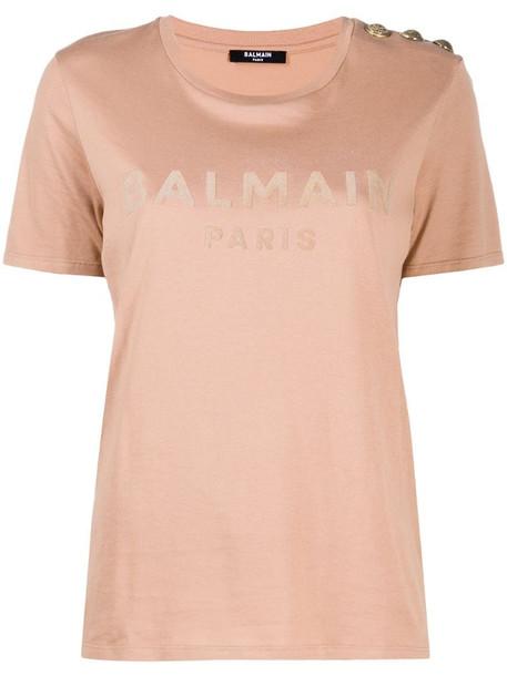 Balmain logo print T-shirt in brown