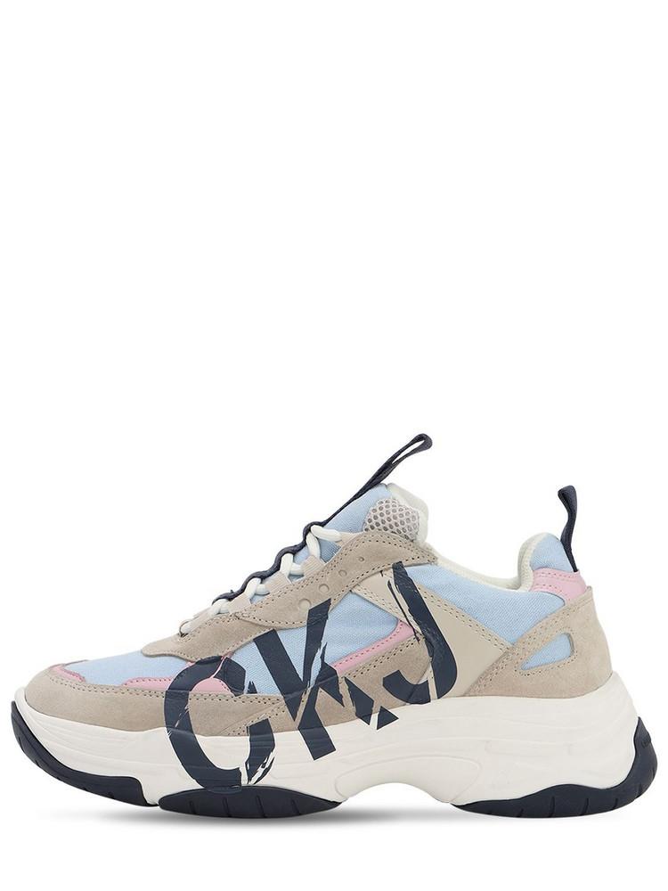 CALVIN KLEIN JEANS 40mm Marleen Suede & Mesh Sneakers in blue / beige