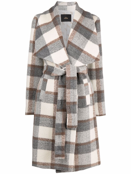 TWINSET checked belted trench coat - Grey
