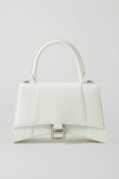 Balenciaga - Hourglass Small Textured-leather Tote - White