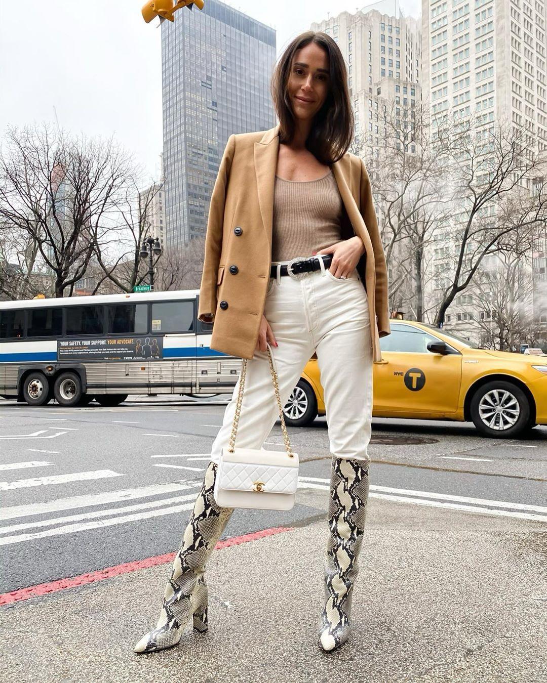 shoes knee high boots snake print white pants blazer tank top chanel bag white bag