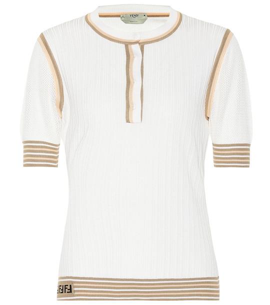 Fendi Ribbed-knit silk top in white