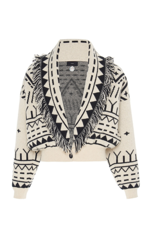 Alanui Rainy Mountains Fringed Cashmere And Wool Cropped Cardigan in black / white