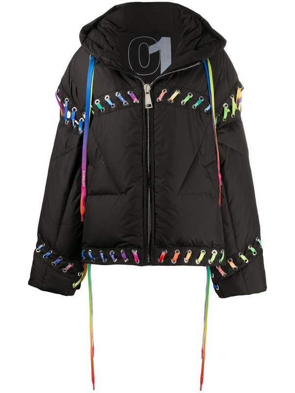 Khrisjoy contrasting lace-up puffer jacket in black