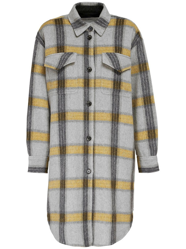 DESIGNERS REMIX Amara Flannel Check Shirt Jacket in grey / yellow