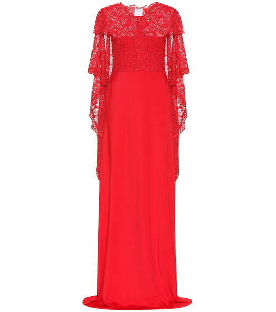 Vetements Lace and jersey gown in red