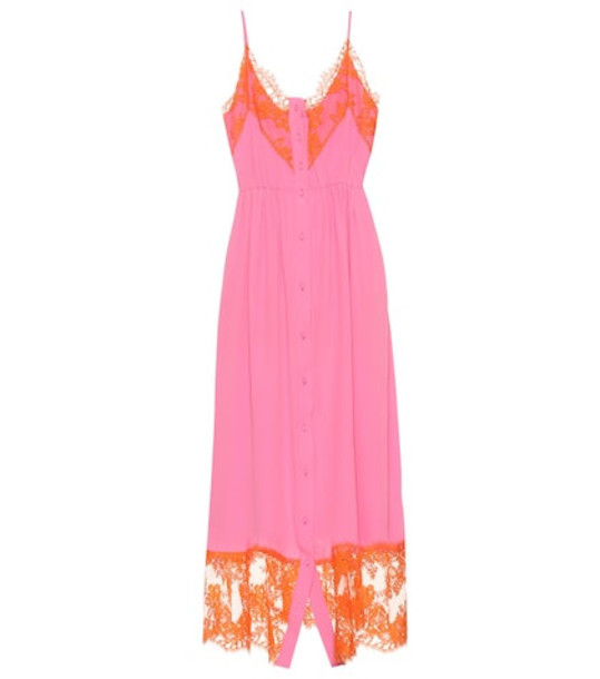 MSGM Silk-blend dress and shorts set in pink