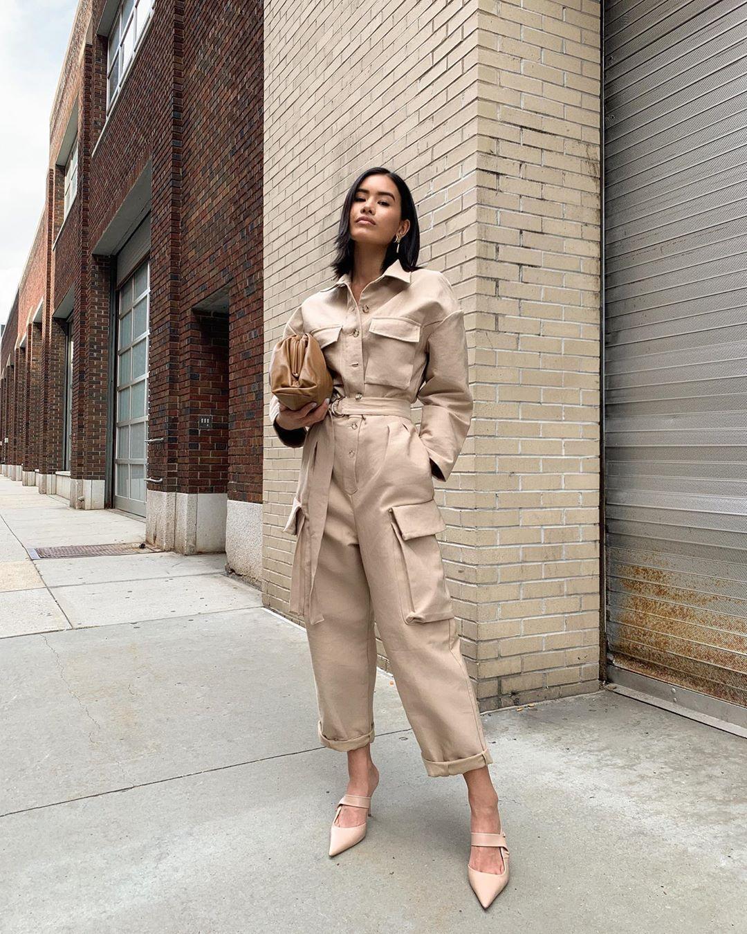 jumpsuit long sleeves mules handbag