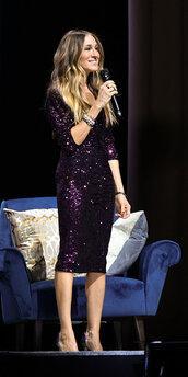 dress,sequins,sequin dress,mini dress,celebrity,pumps,purple,sarah jessica parker