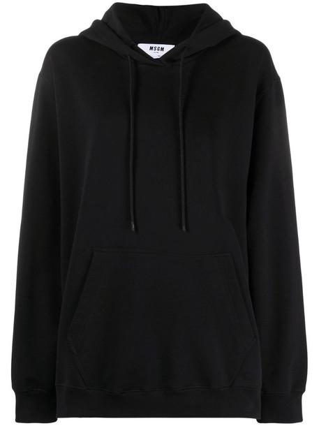 MSGM logo-print hoodie in black