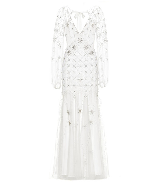 Temperley London Celeste crystal-embellished gown in white