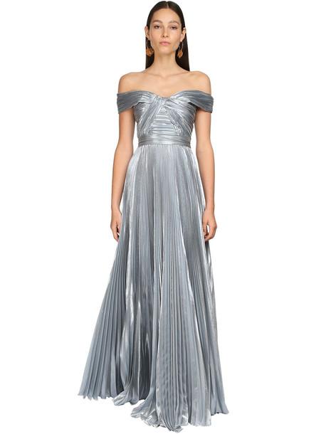 ZUHAIR MURAD Pleated Lamé Long Dress in blue
