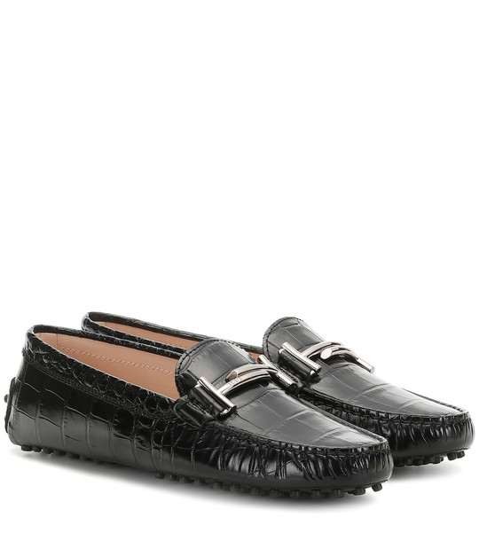 Tod's Gommino croc-effect leather loafers in black