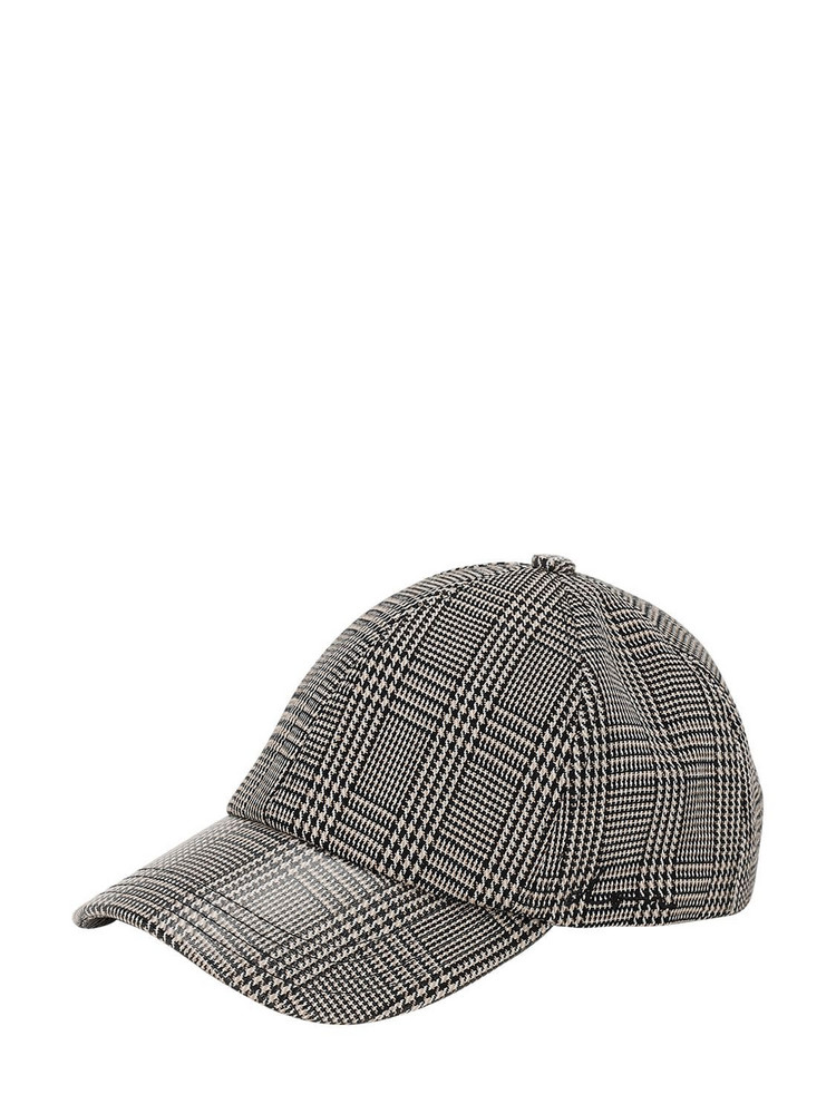 DON Check Coated Canvas Baseball Hat in camel