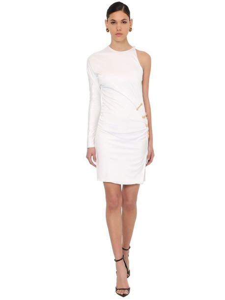 VERSACE One Shoulder Viscose Jersey Dress W/pins in white