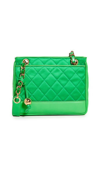 What Goes Around Comes Around Chanel Lambskin Shoulder Bag in green
