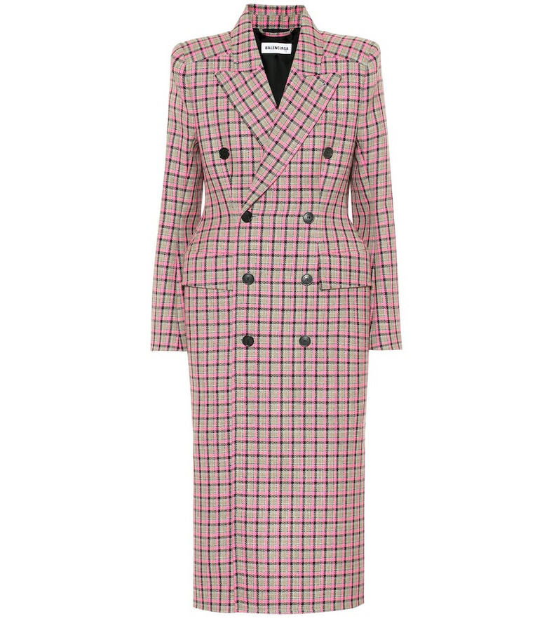 Balenciaga Hourglass checked wool coat in pink
