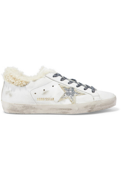 Golden Goose - Superstar Shearling-lined Glittered Distressed Leather Sneakers - White