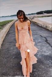 dress,light pink dress,flowers,prom dress