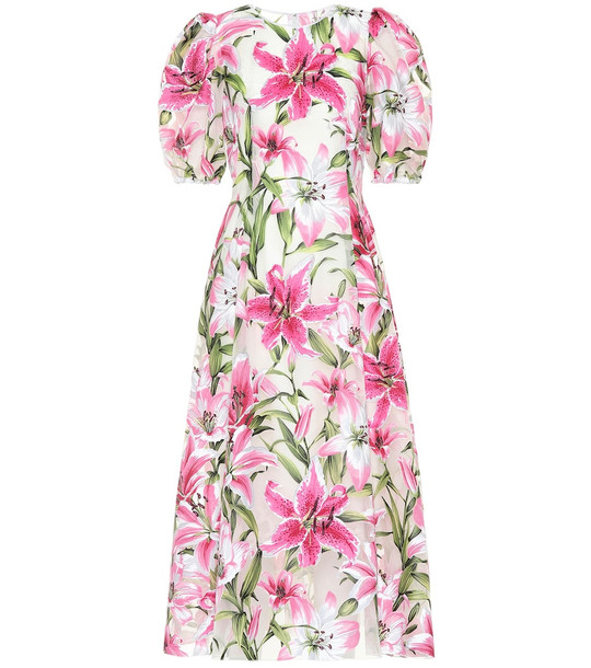 Dolce & Gabbana Floral silk and organza midi dress in pink