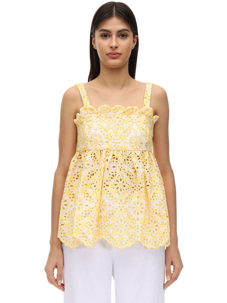 AZULU Basurto Cotton Eyelet Lace Top in yellow
