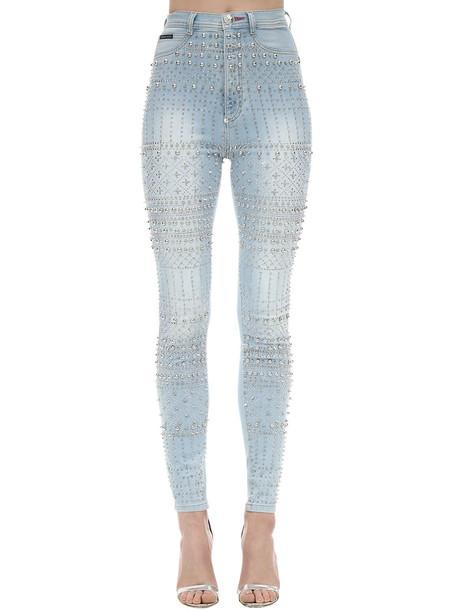 PHILIPP PLEIN Embellished Skinny Stretch Denim Jeans