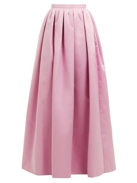 Rochas - High Rise Duchess Satin Maxi Skirt - Womens - Pink