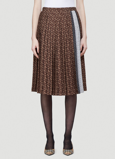 Burberry TB Monogram Pleated Skirt in Brown size UK - 10