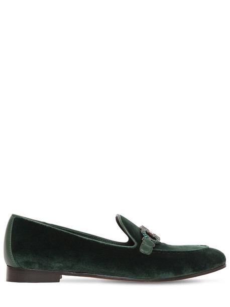 SALVATORE FERRAGAMO 20mm Trifoglio Embellished Velvet Loafer in green
