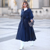 skirt,pleated skirt,midi skirt,navy skirt,max mara,white boots,dior bag,blue jacket,white turtleneck top