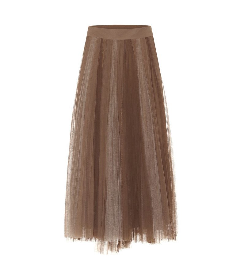 Brunello Cucinelli Tulle midi skirt in brown